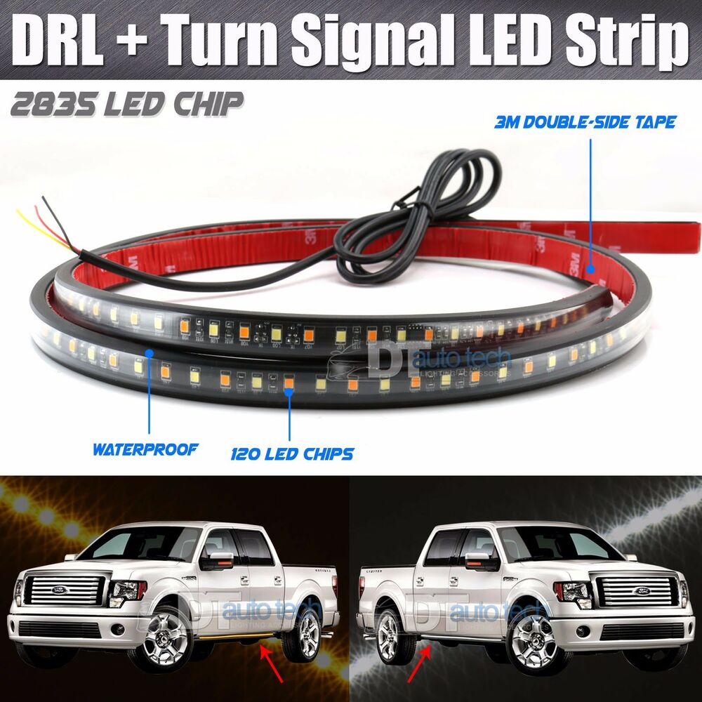 2x 48 Quot Drl Running Board Step Bar Turn Signal Switchback