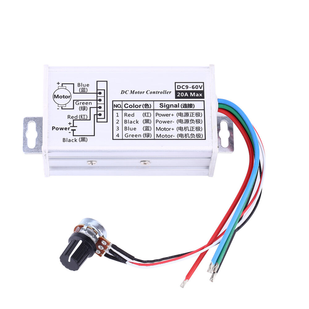 Hot dc 9v 12v 24v 48v 60v 20a motor speed controller for 12v dc motor controller