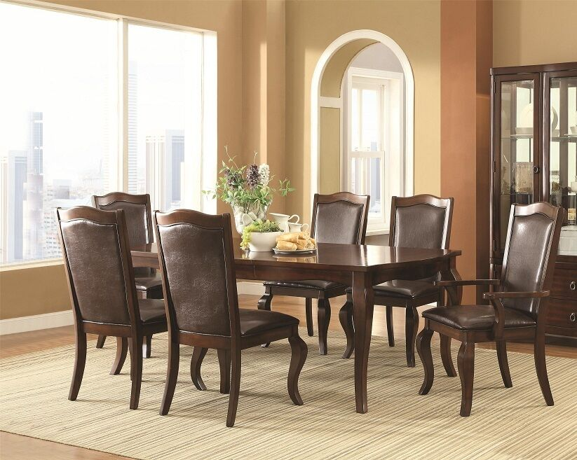 Formal espresso finish 7 piece dining set table chairs for Formal modern dining room sets
