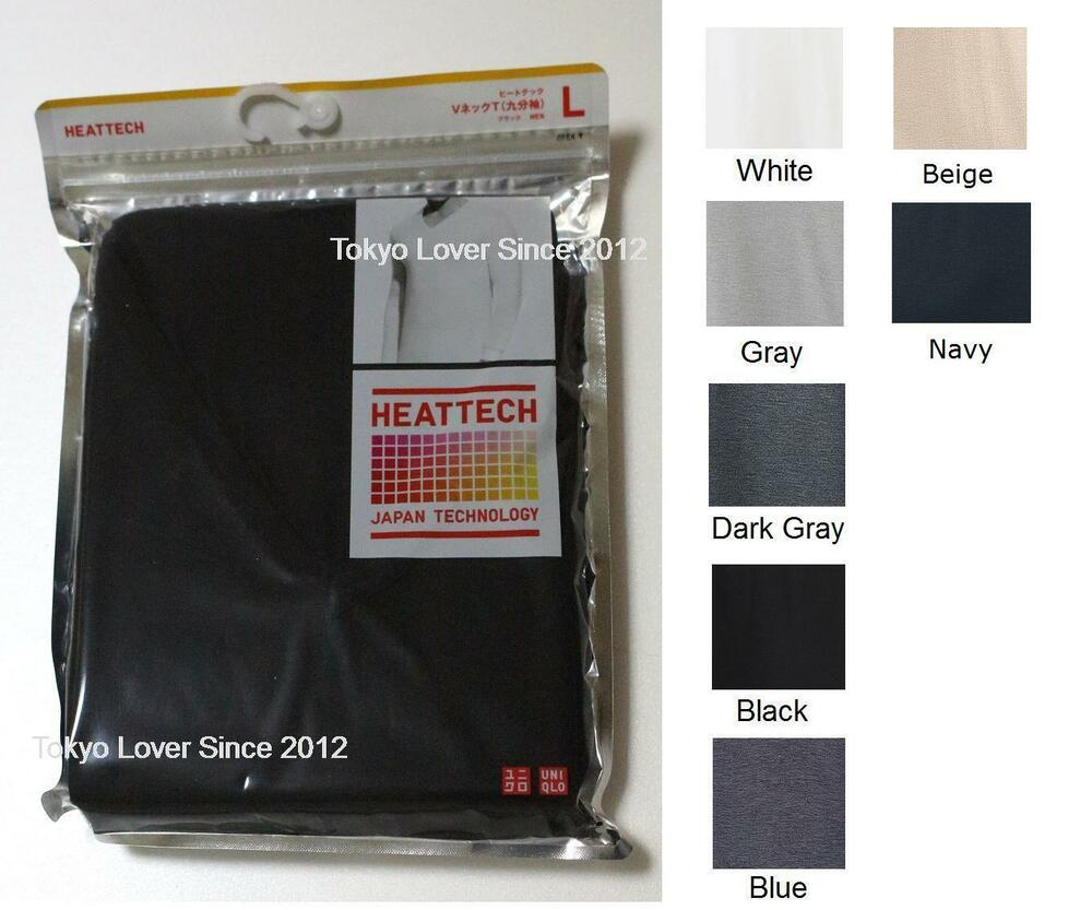 34fcd8892 Details about UNIQLO Men HEATTECH 4/5 Sleeve V Neck Warm T-shirt from Japan