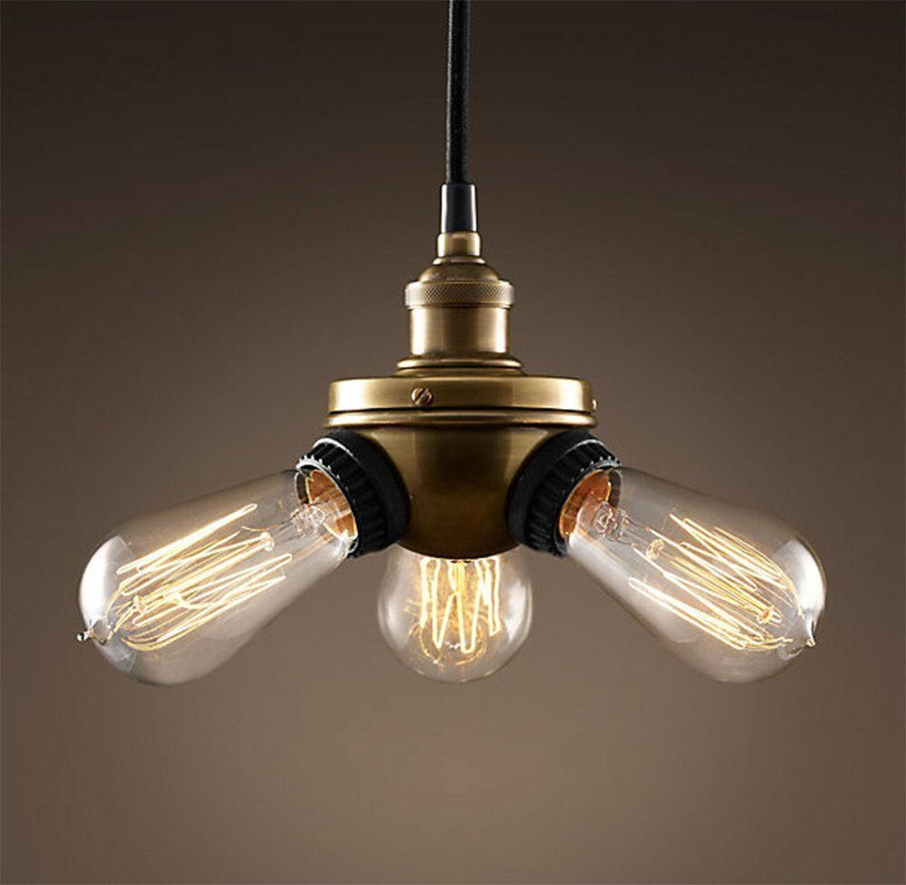 Triple Head Vintage Metal Ceiling Pendant Light Retro