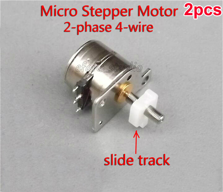 2pcs 2 phase 4 wire 8mm stepper motor micro dc 5v motor