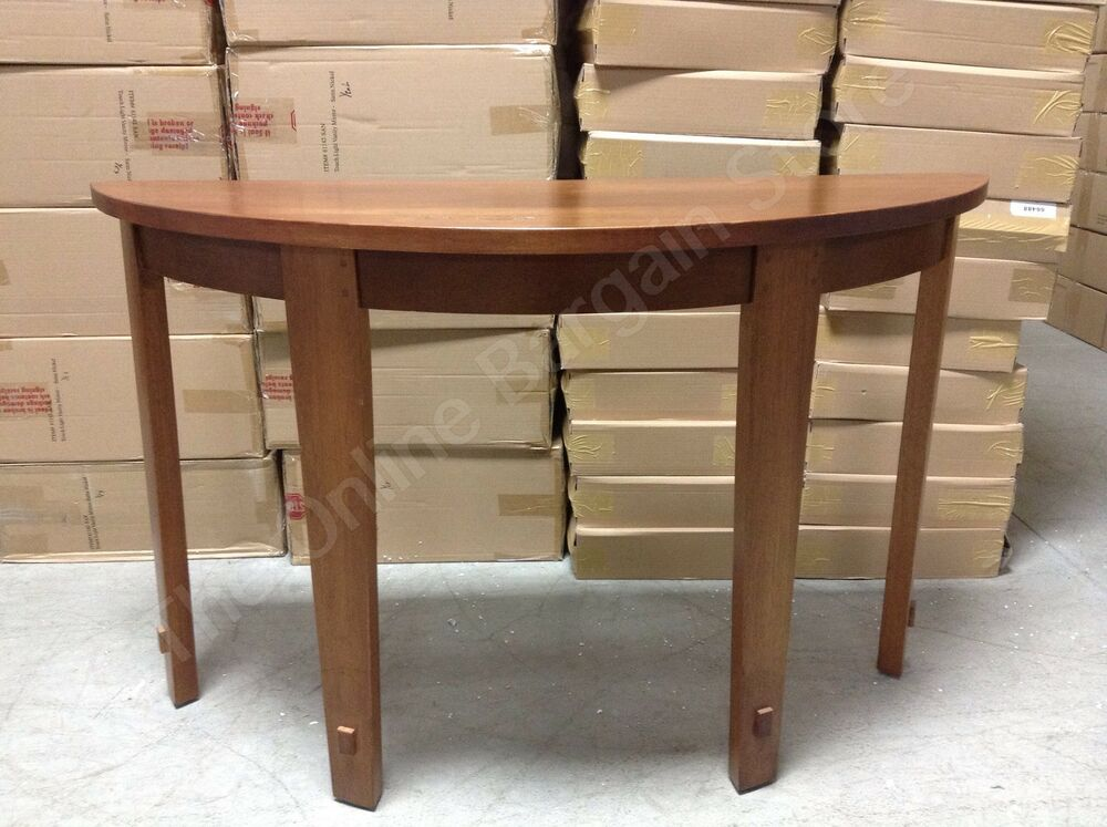 pottery barn half moon foyer henry wood entryway console hall accent table ebay. Black Bedroom Furniture Sets. Home Design Ideas