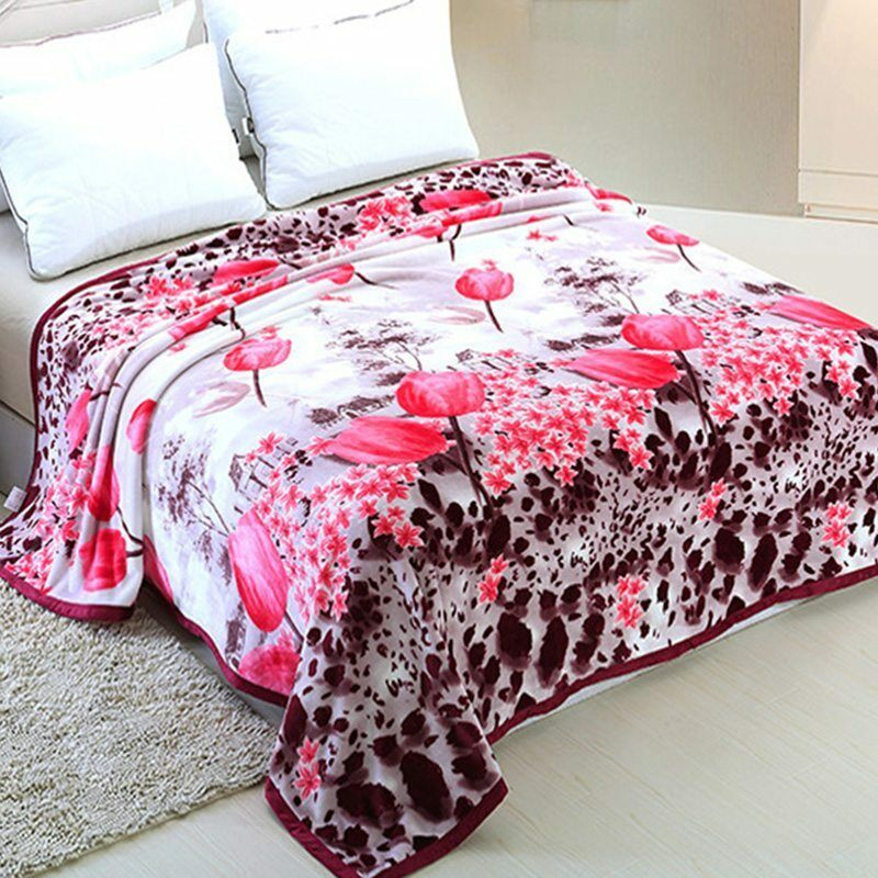 New flannel throw blanket soft floral bedding bedspread for Soft blankets and throws