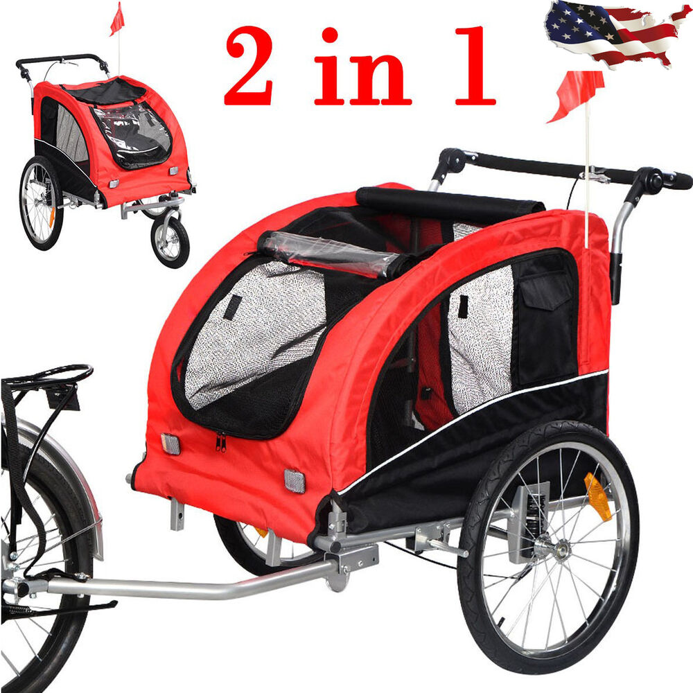 2 in 1 pet dog cat bike trailer bicycle trailer stroller. Black Bedroom Furniture Sets. Home Design Ideas