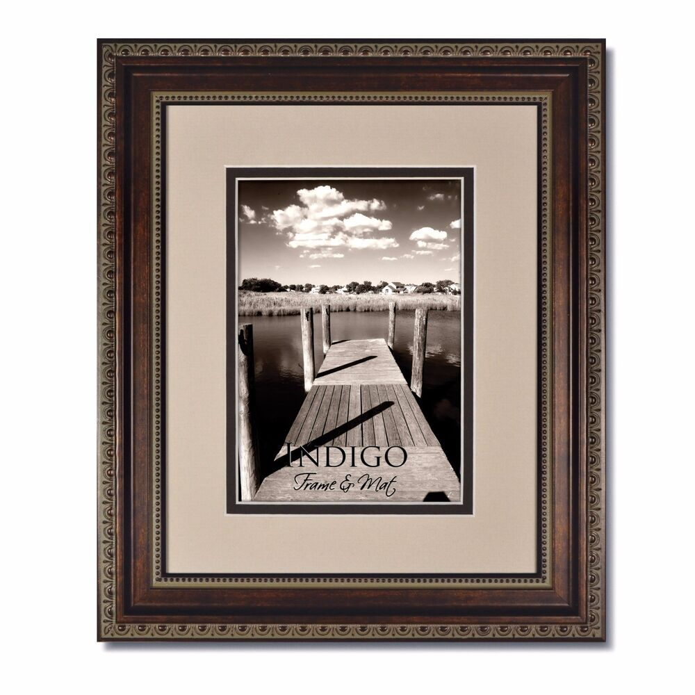 One 11x14 Ornate Bronze Picture Frame Glass Oysterespresso Mat