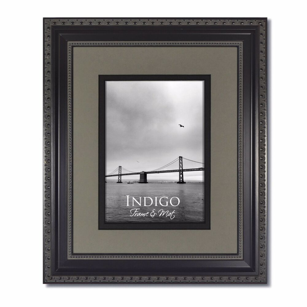One 11x14 Ornate Black Photo Frame Glass Amp Slate Gray