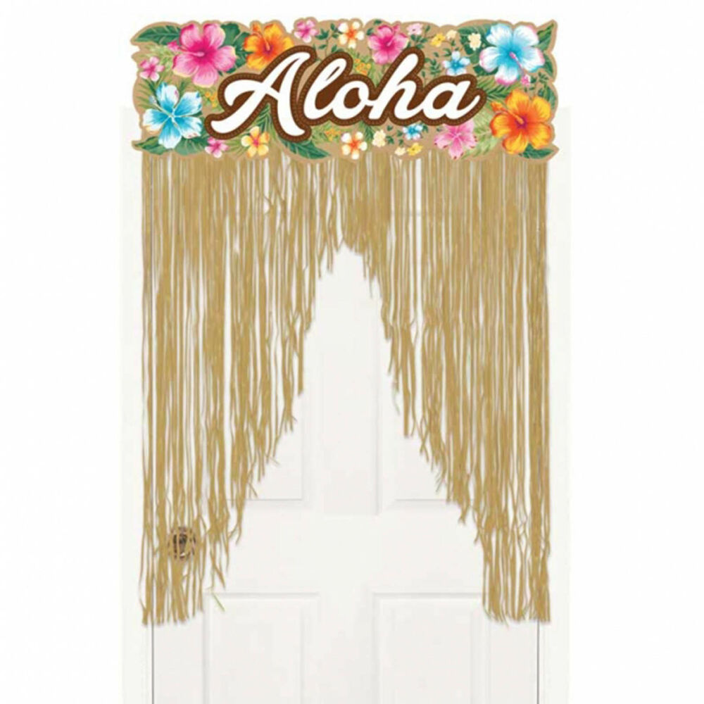 2m tropical hawaiian party aloha grass doorway door sign - Cortinas para bebes decoracion ...
