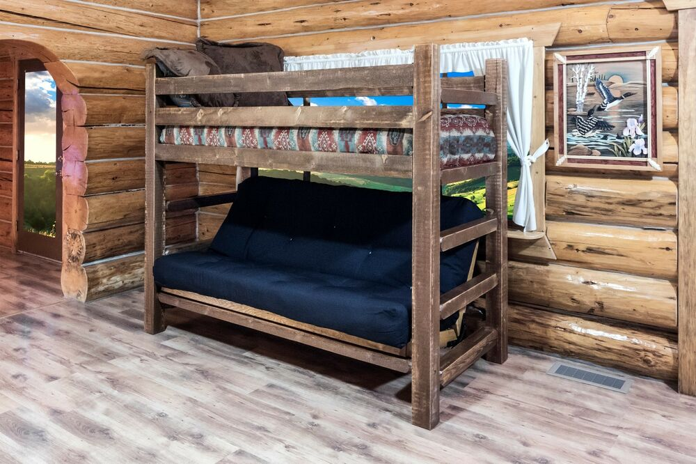 Farmhouse style futon bunk bed rustic log cabin bedroom for Log cabin style bunk beds