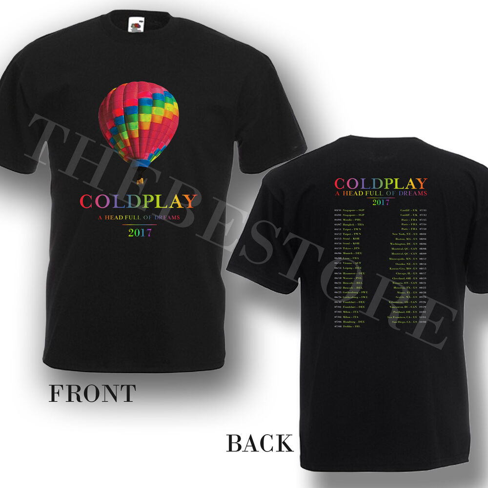 Exceptionnel Coldplay Tour 2017 Head Full of Dreams T-shirt Band Concert New  ED08