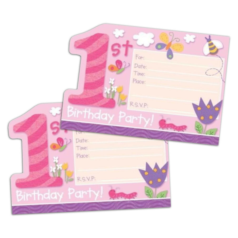 8 Pink Happy 1st Special Girl Birthday Party Invitations