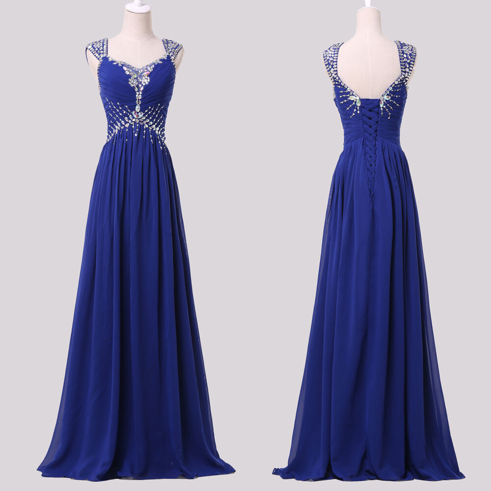Evening Wear For Weddings: Blue Long Chiffon Wedding Evening Dress Formal Party Gown