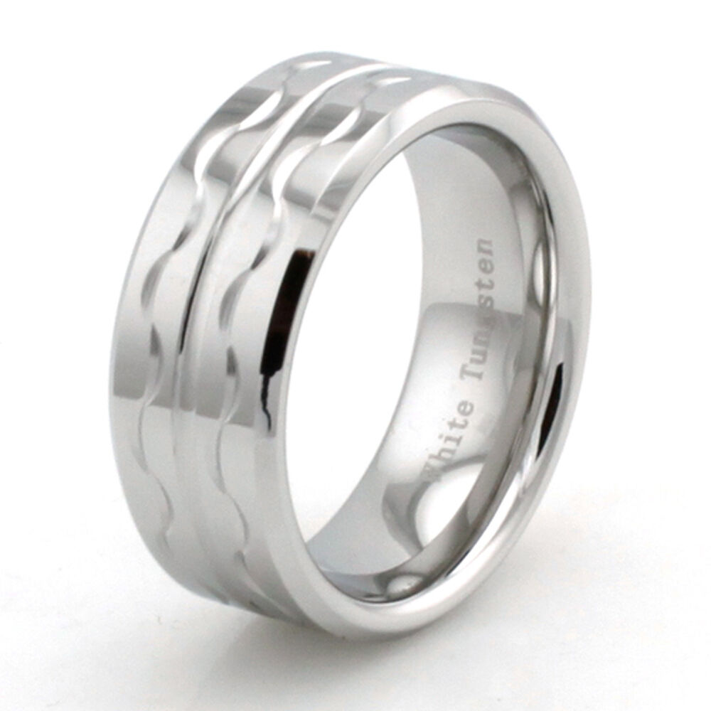 Wave Design Bands: White Tungsten Cobalt Chrome Hand Carved Tribal Wave