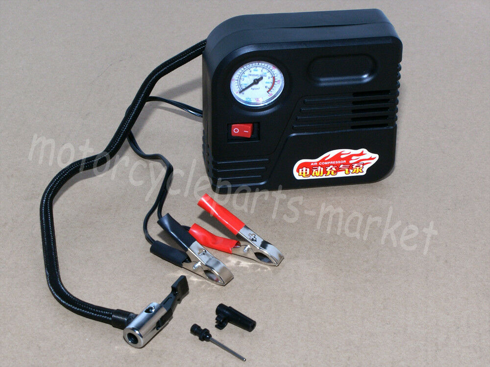 motorcycle 12v compact portable mini tyre battery air compressor inflator pump ebay. Black Bedroom Furniture Sets. Home Design Ideas