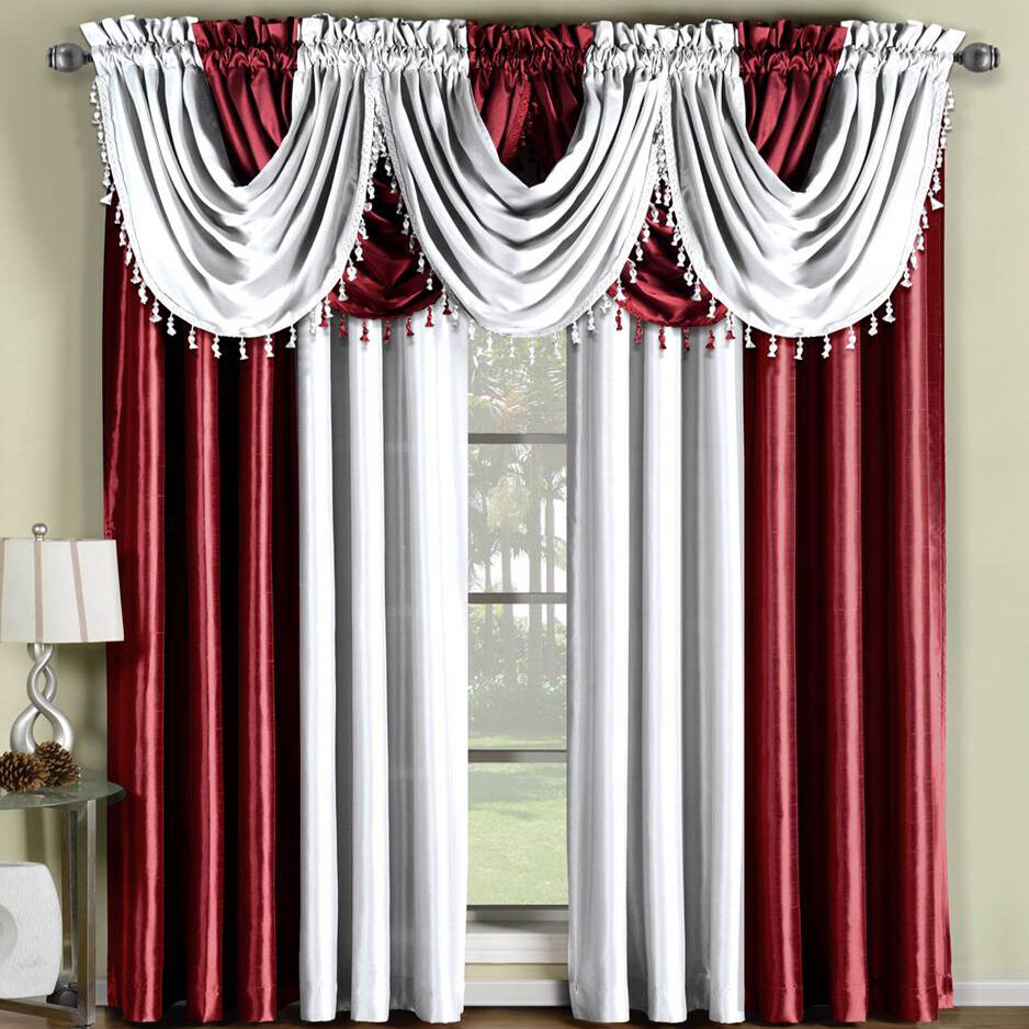 Soho Faux Silk Rod Pocket Panel Or Waterfall Valance