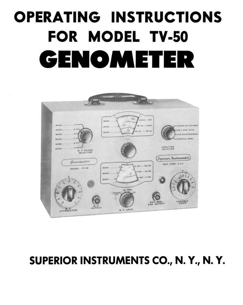 Superior Model Management Eye Kandy Uk: Superior Model TV-50 Genometer Operating Manual