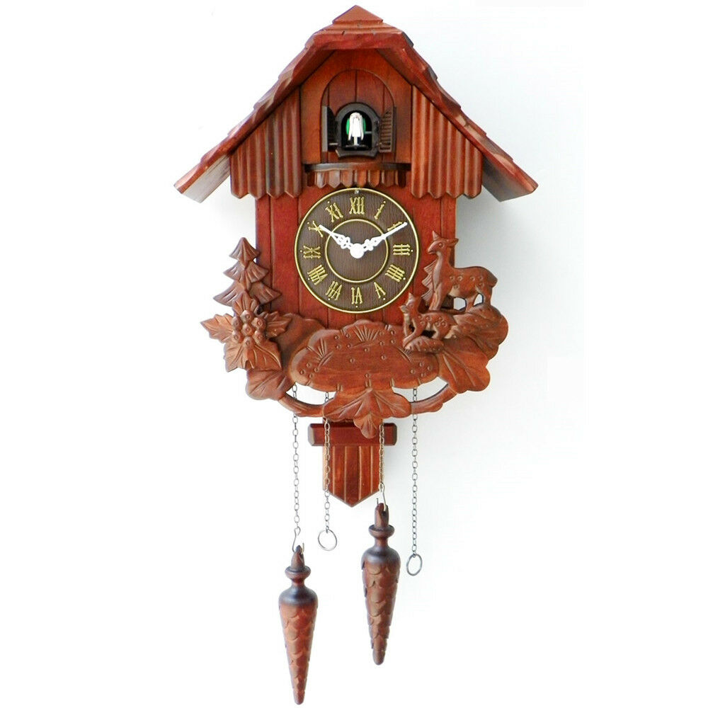 New 2016 Cuckoo Clock Black Forest Quartz Wood Batterie