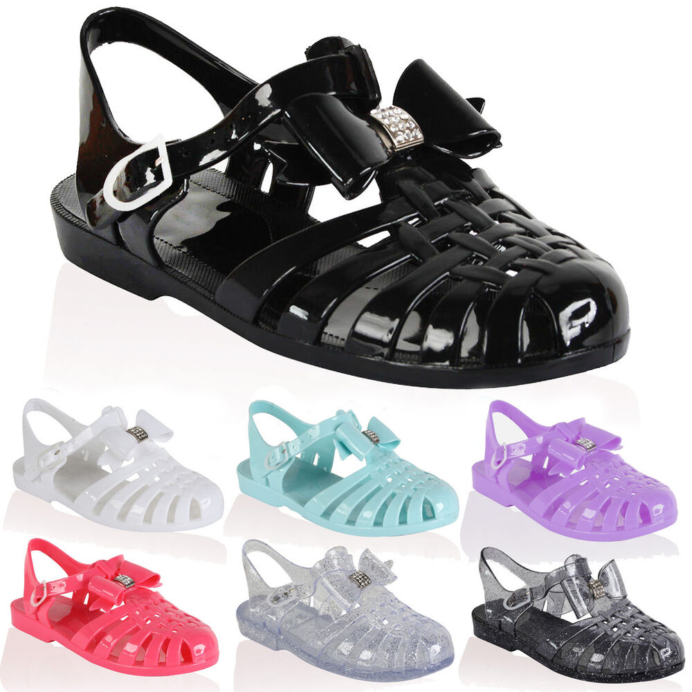 Kids Girls Jelly Sandals Shoes Retro Diamante Summer Beach