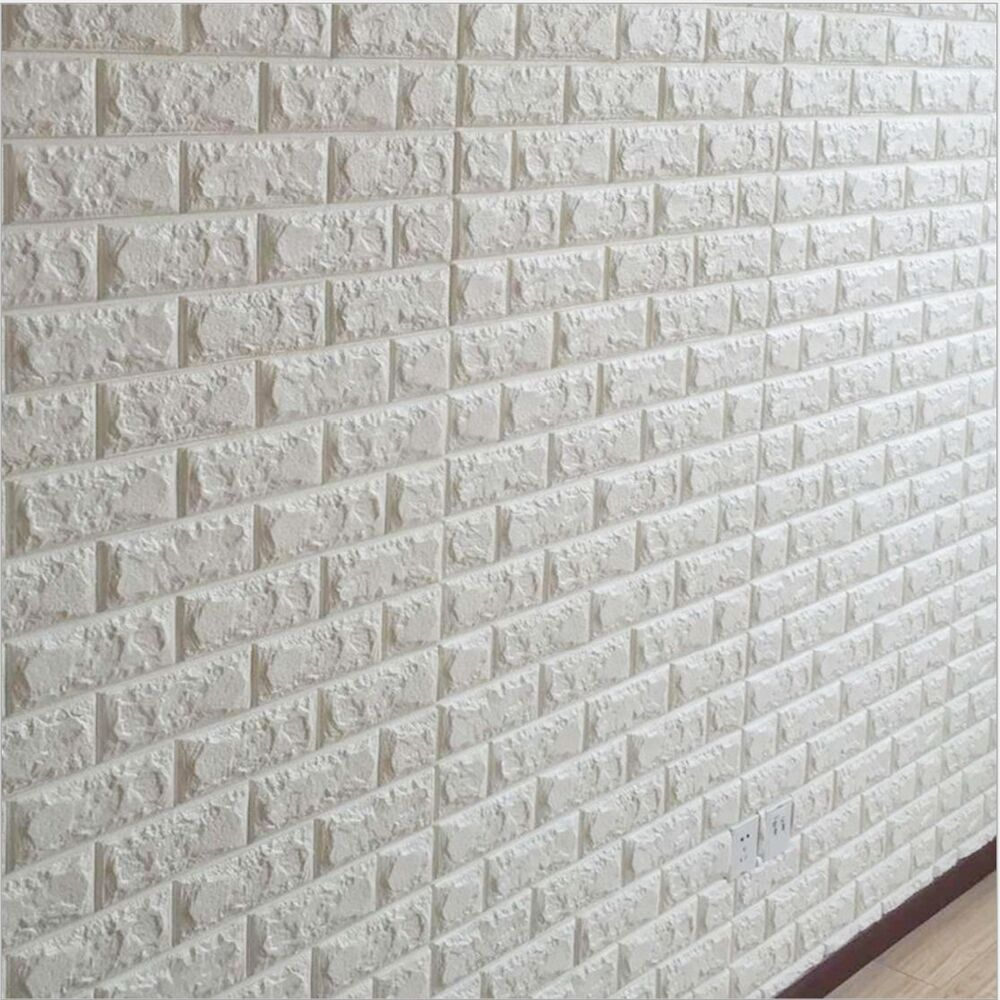 White 3D Embossed Brick Stone Wall Sticker Decal