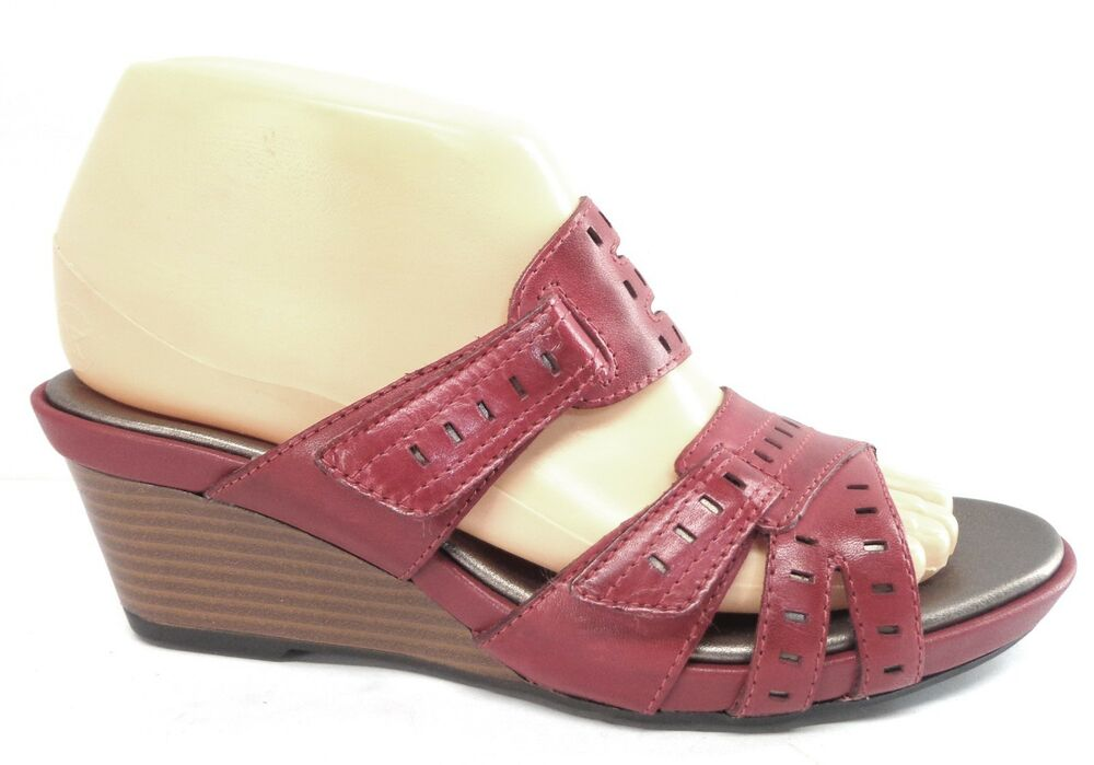 Clarks Lucia Sun Red Rouge Womens Summer Shoes Wedge