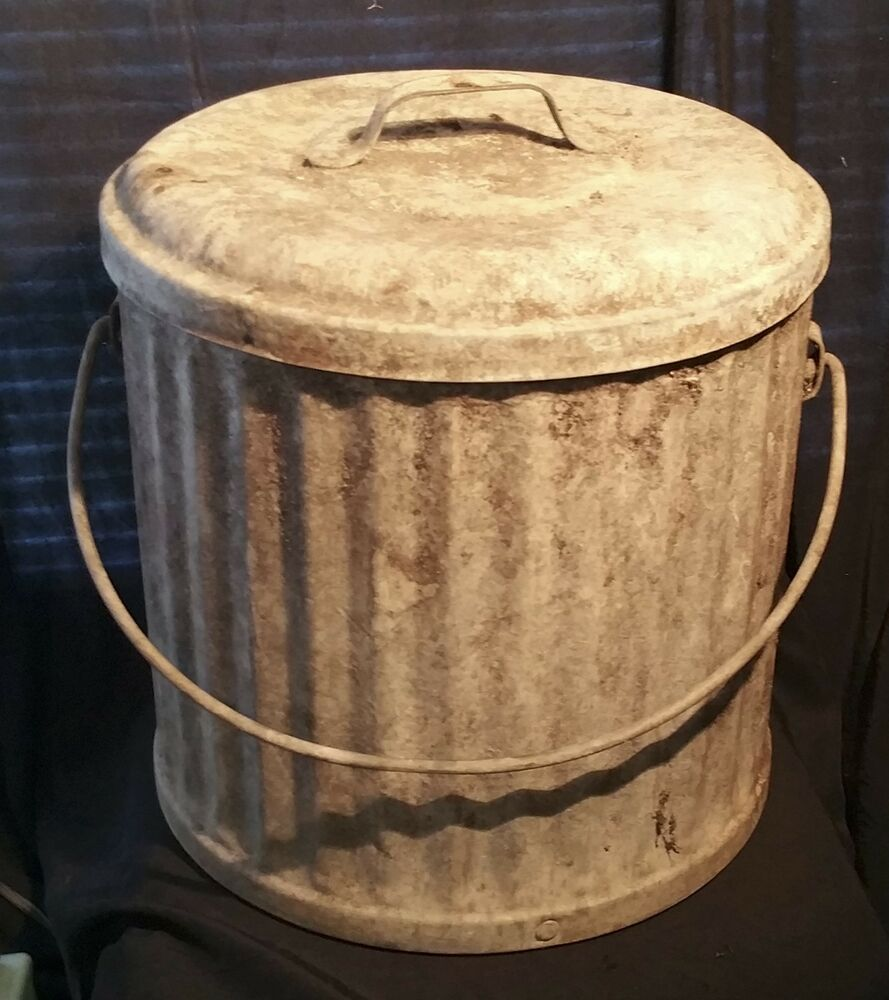 Vintage galvanized trash can w lid hard to find antique metal garbage pail 15 ebay - Small trash can with lid ...