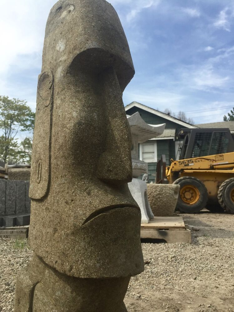 Moai statue carving solid stone easter island javanese