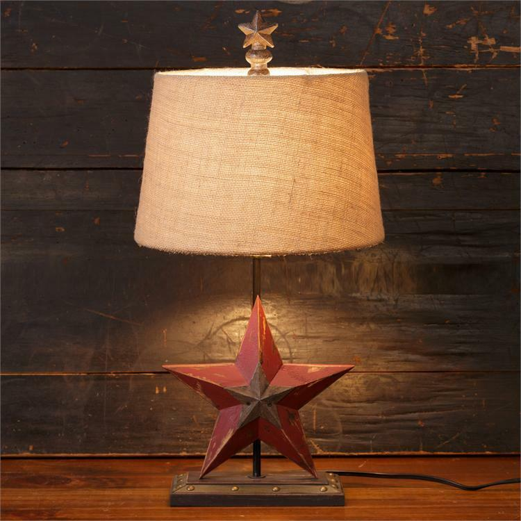 Pendant Lighting By Rustic State Authentic Vintage Lights: New Primitive Country RUSTIC BARN STAR LAMP Burlap Shade