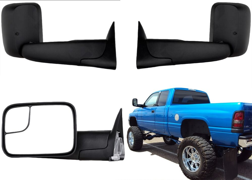 PAIR Manual Black Towing Mirrors For 1994 2001 Dodge Ram