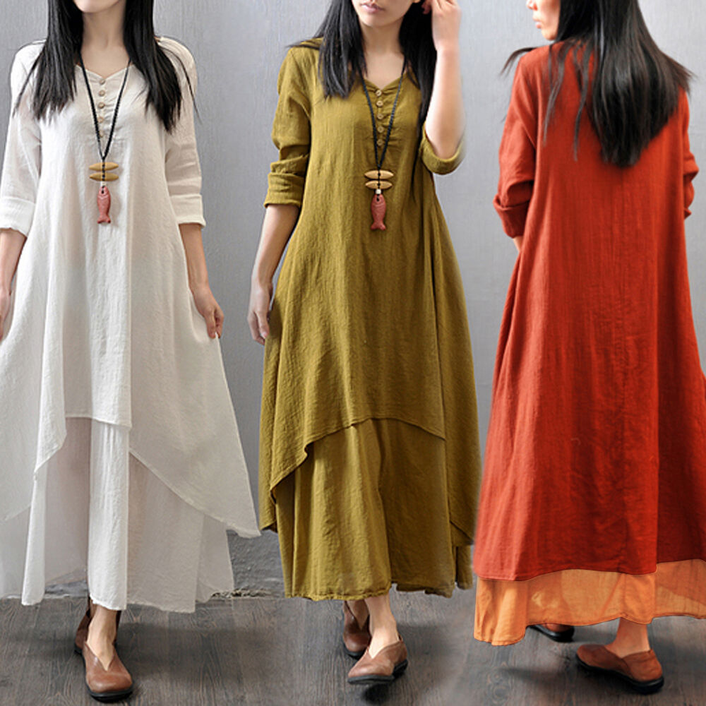 Women boho cotton linen loose long sleeve long maxi dress Women s long sleeve shirt dress