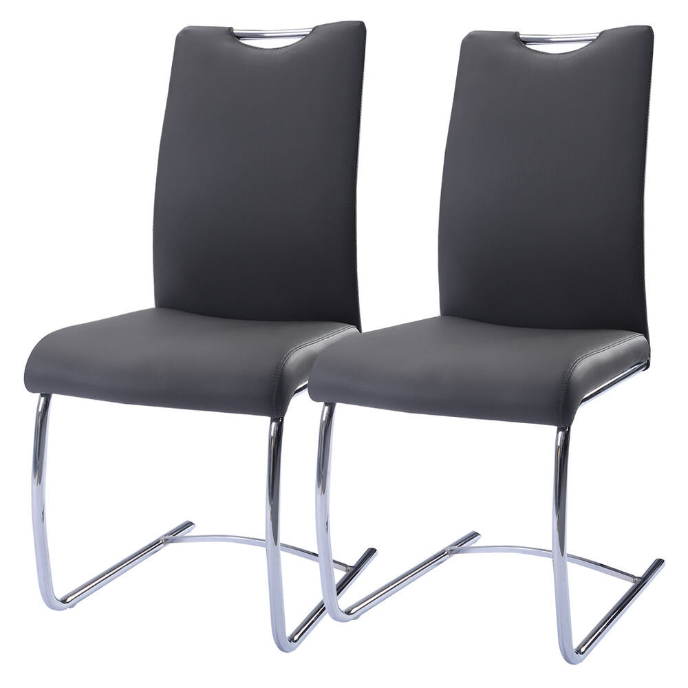 2 pcs pu leather dining chairs high back furniture for Leather back dining chairs