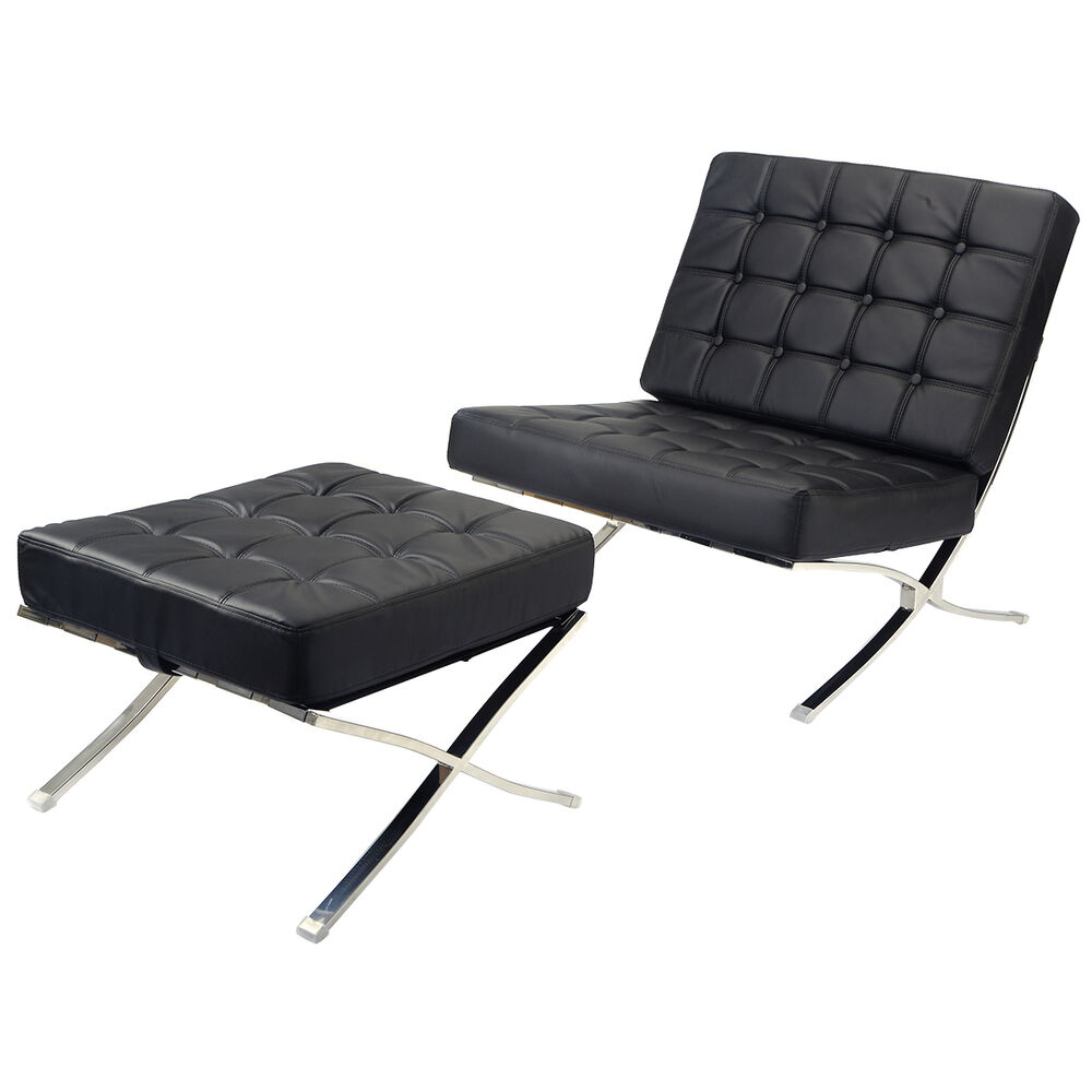Barcelona Style Modern Pavilion Chair Ottoman Black Seat Chaise High Quality Ebay