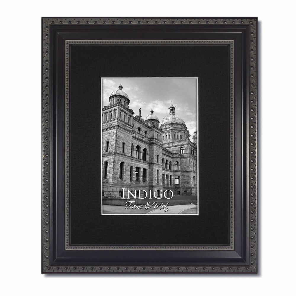 one 11x14 ornate black picture frame glass single black mat for 8x10 ebay. Black Bedroom Furniture Sets. Home Design Ideas