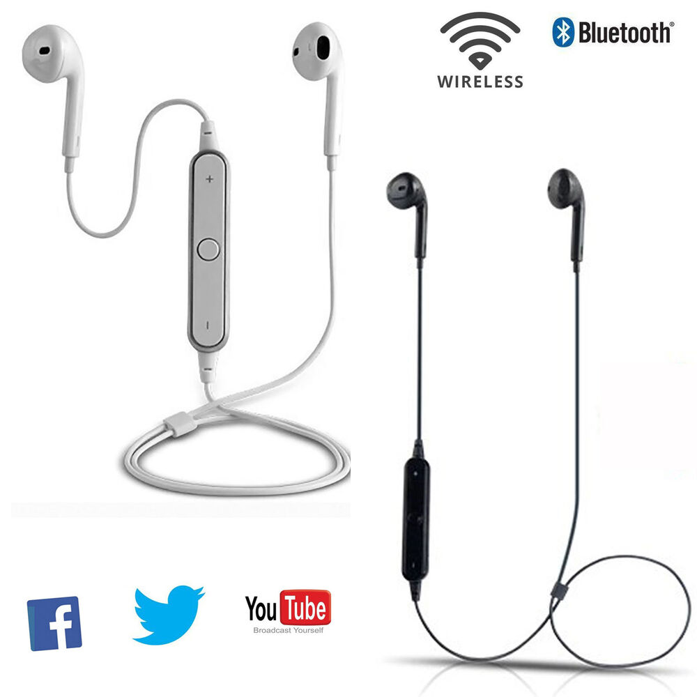 bluetooth headphones noise cancelling earbuds headset for iphone 6 6s 5s htc lg ebay. Black Bedroom Furniture Sets. Home Design Ideas