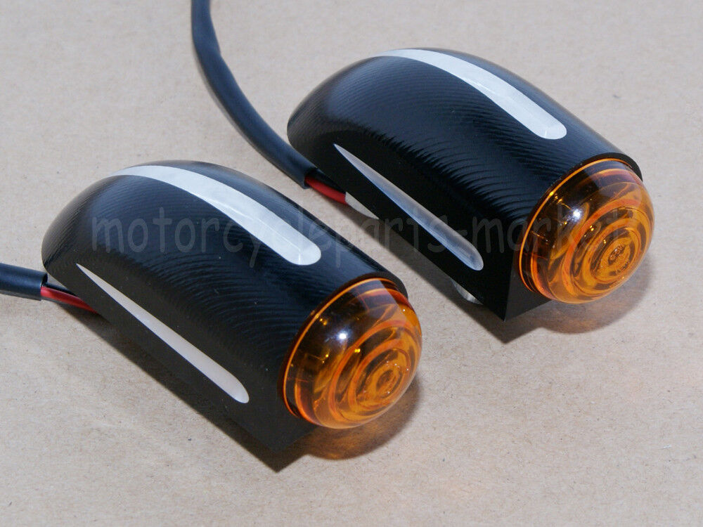 Black Turn Signal Lights Blinkers For Harley Dyna Softail