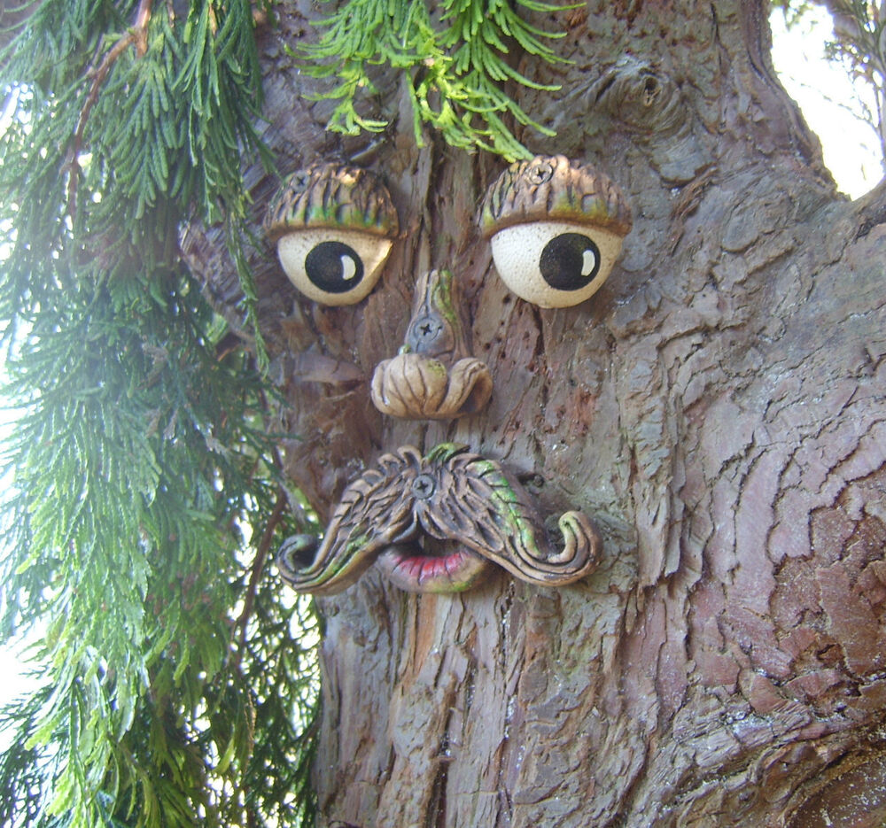 Mr tree face garden ornament sculpture statue tree art for Tree decorations for garden