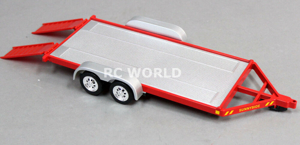 rc scale accessories metal car trailer w ramps 1 24 for. Black Bedroom Furniture Sets. Home Design Ideas