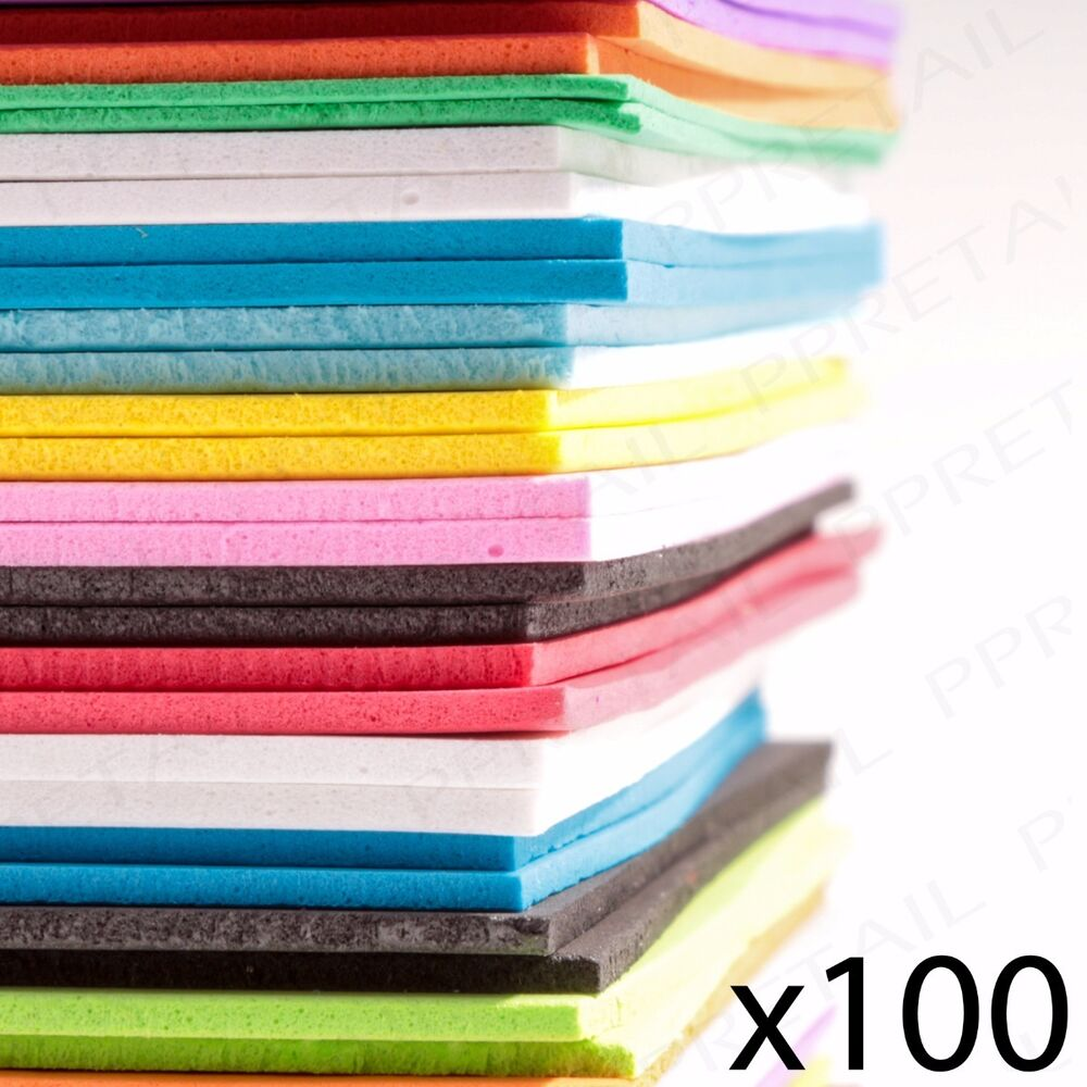 large pack of 100 a5 foam craft sheets assorted colours. Black Bedroom Furniture Sets. Home Design Ideas
