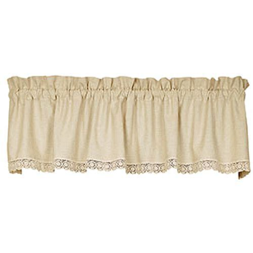 New Shabby French Country Chic Cream Linen Crochet Lace Curtain Window Valance Ebay