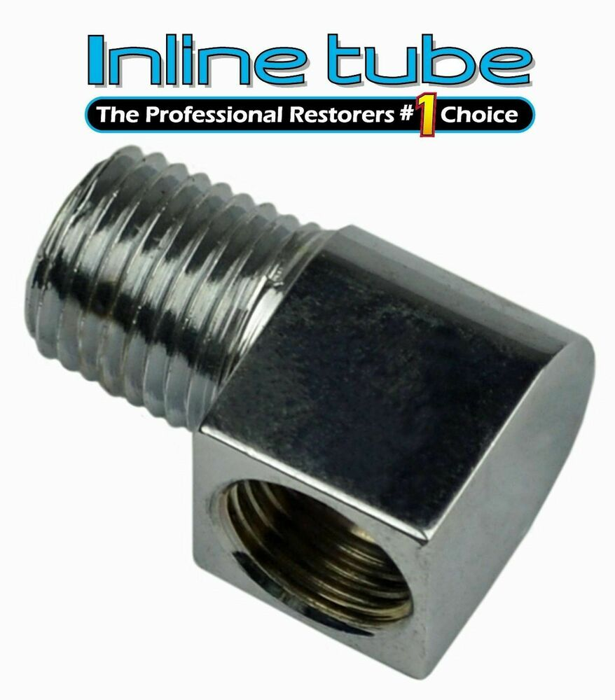 Npt to inverted flare fuel line chrome adapter