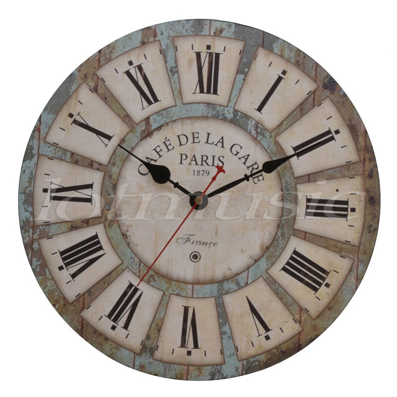 Antique Wood Wall Clock Round Large Art Home Decor
