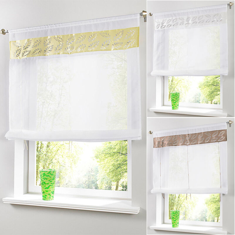 Gift Embroider Sheer Curtains Roller Curtain Kitchen Tulle