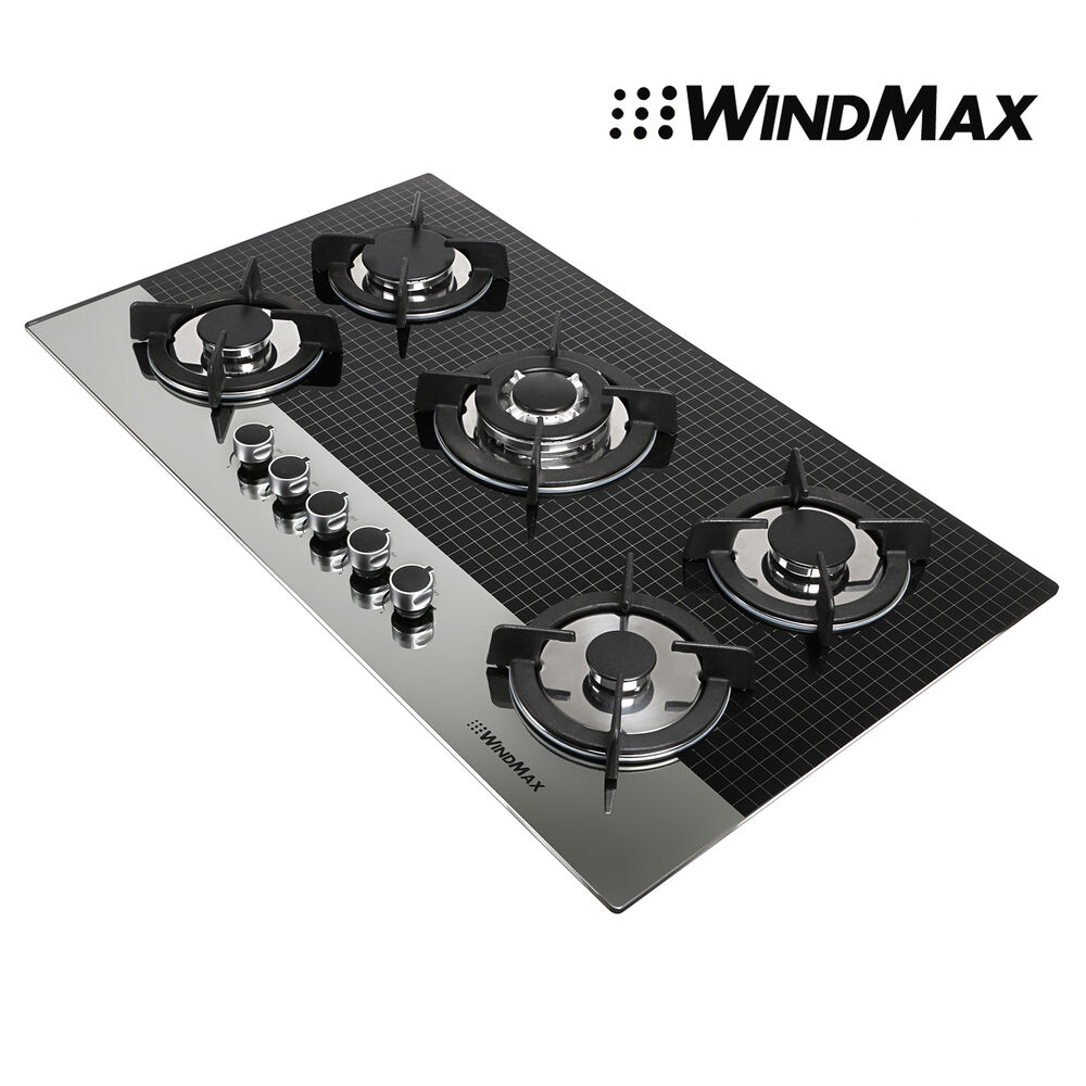 5 Burner Gas Cooktops: Windmax 35.5inch Coated Glass 5 Burners Built-In Stove LPG