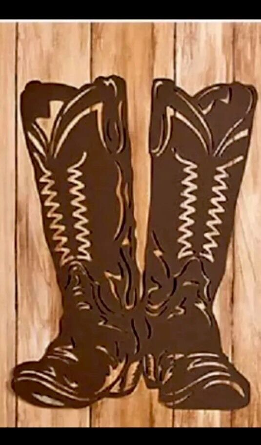 Cowboy Boots Western Metal Art Ranch Rustic Lodge Mountain