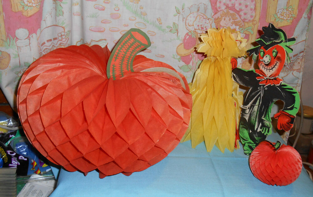vintage Halloween PUMPKIN AND SCARECROW DECORATIONS with ...