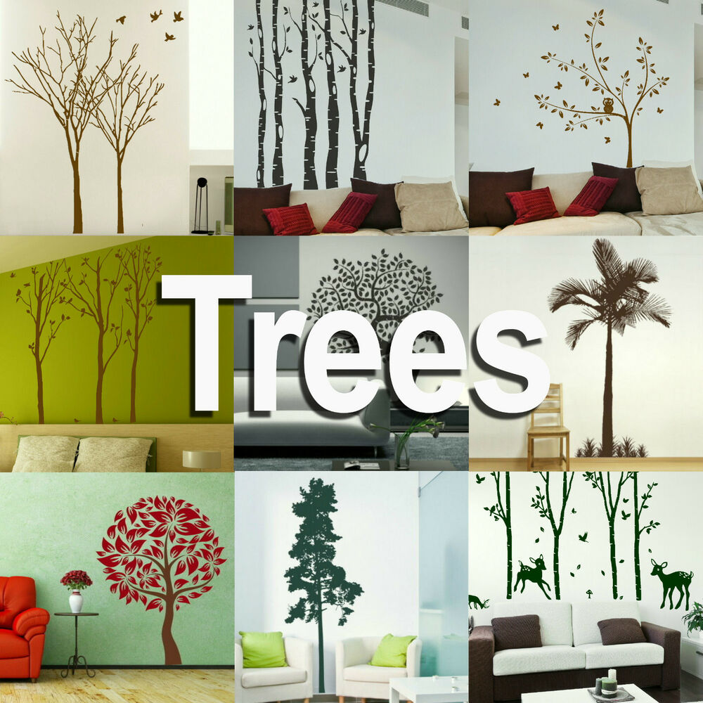 tree wall stickers giant home transfer graphics forest decal decor stencils ebay. Black Bedroom Furniture Sets. Home Design Ideas