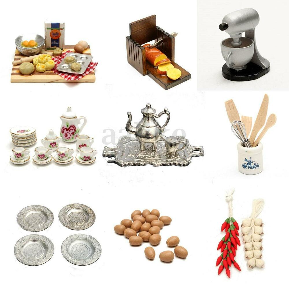 Mini Real Food Kitchen: 1/12 Scale Dollhouse Miniature Kitchen Acessories Food