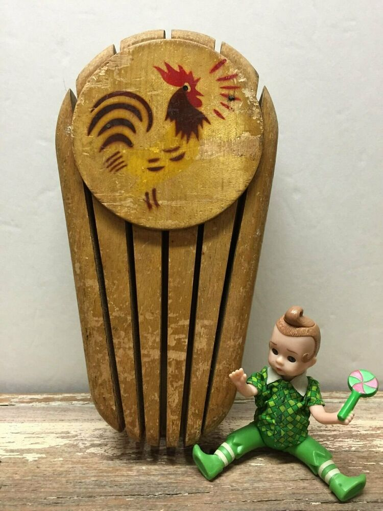 Vintage Wooden Wood Rooster Knife Holder Wall Mounted