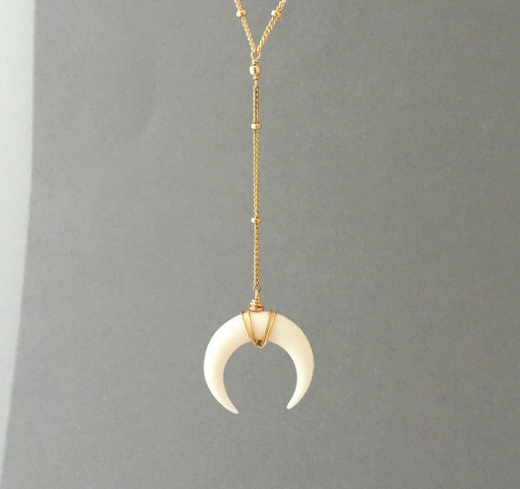 Crescent Horn Necklace: SMALL White Bone Double Horn Pendant Lariat Necklace