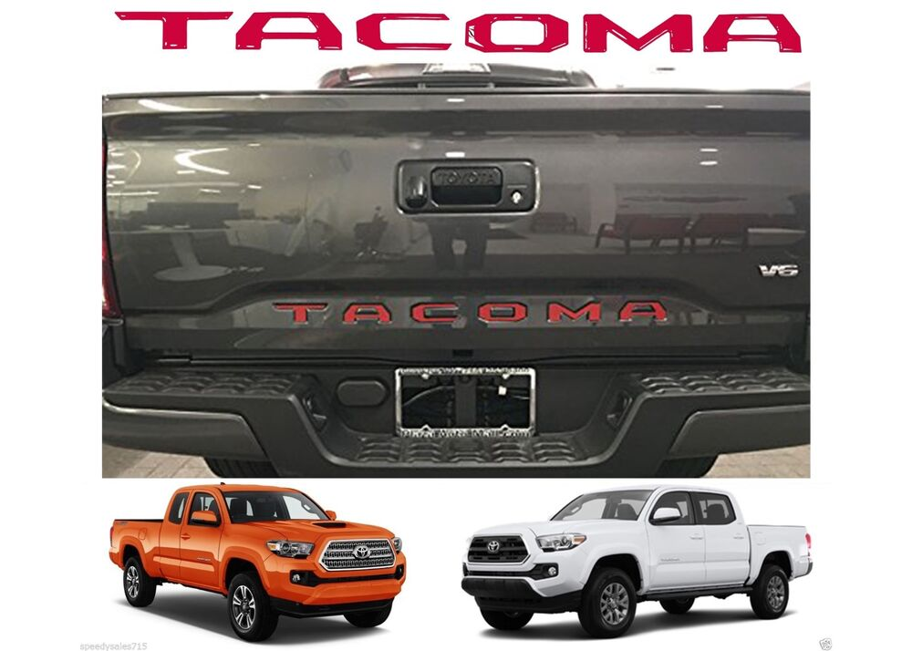 Red Tailgate Letters Inserts For 2016-2017 Toyota Tacoma ...