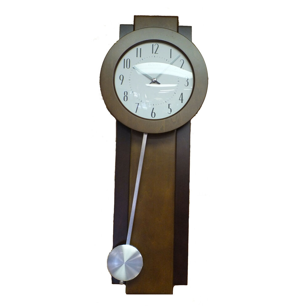 Blemished bulova c3383 avent pendulum wall clock ebay for Bulova pendulum wall clock
